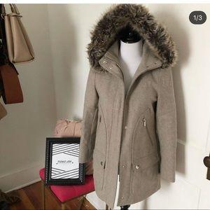 A.n.a oatmeal pea coat and fur hood